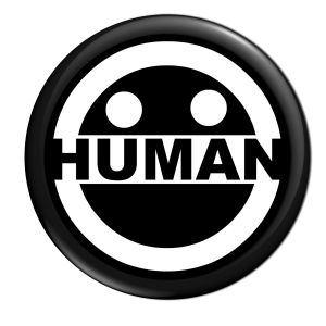 new human logo button black