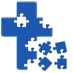 Puzzle Cross Blue
