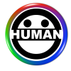 Rainbow human logo button