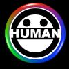 Rainbow human logo button